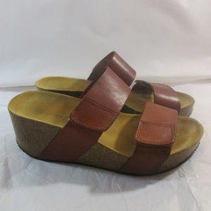 Lolasabbia Leather Cork Wedge Strap Sandals 36/6